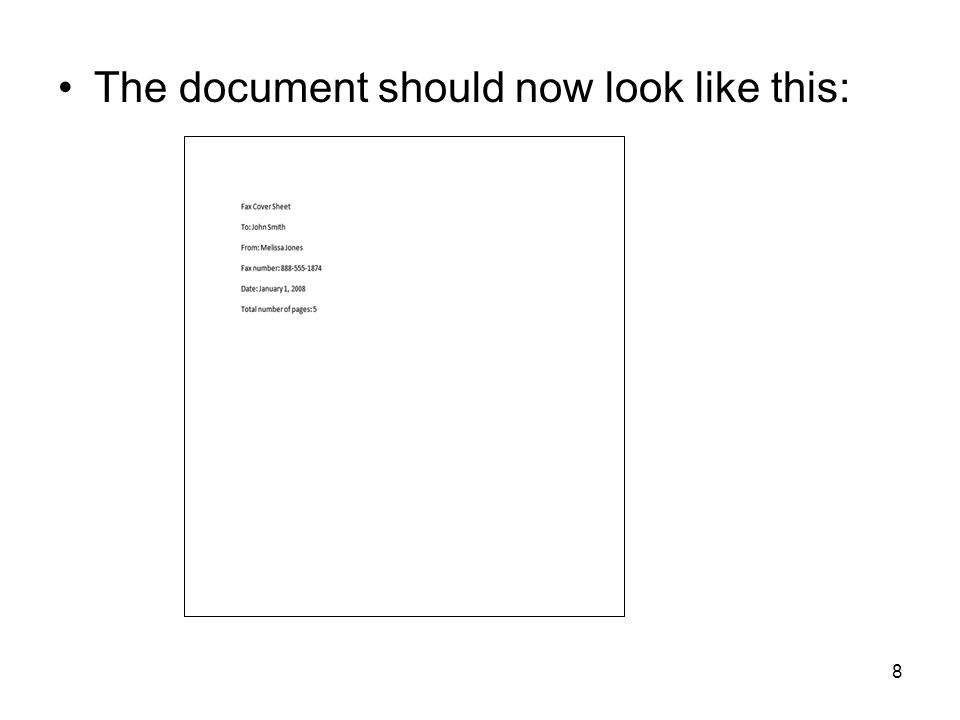 8 The document should now look like this: