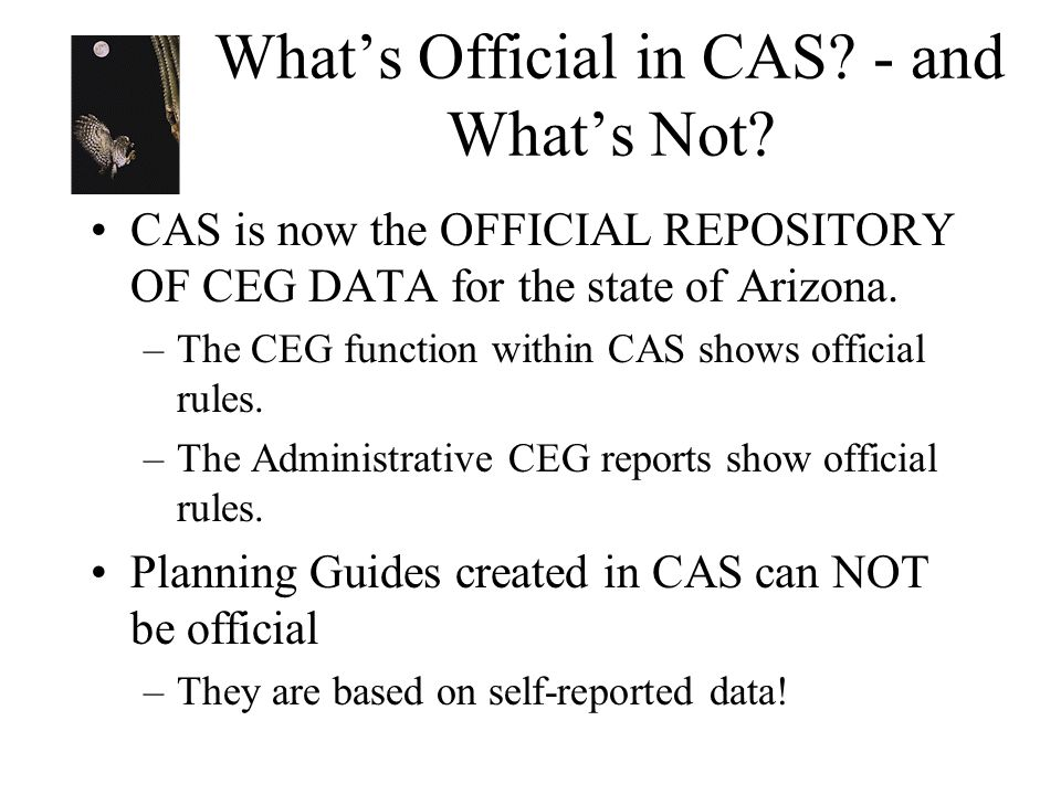Whats Official in CAS? - and Whats Not? CAS is now the OFFICIAL REPOSITORY OF CEG DATA for the state of Arizona. –The CEG function within CAS shows of