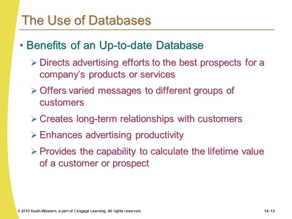 © 2010 South-Western, a part of Cengage Learning. All rights reserved.14–12 The Use of Databases Benefits of an Up-to-date DatabaseBenefits of an Up-t