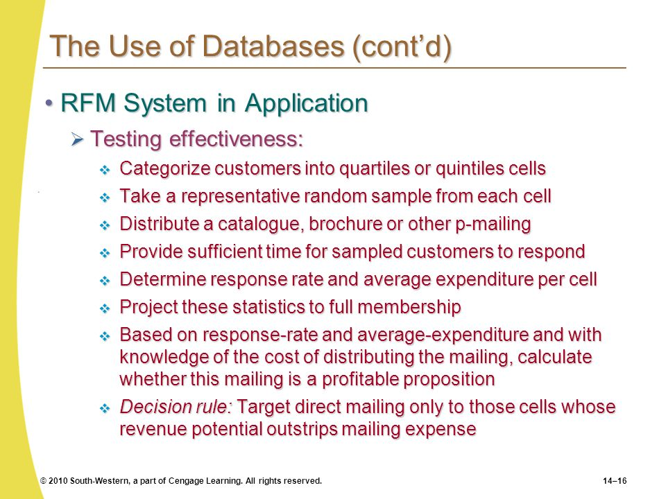 © 2010 South-Western, a part of Cengage Learning. All rights reserved.14–16 The Use of Databases (contd) RFM System in ApplicationRFM System in Applic