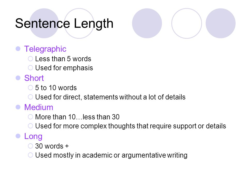 Sentence Length Telegraphic Less than 5 words Used for emphasis Short 5 to 10 words Used for direct, statements without a lot of details Medium More t