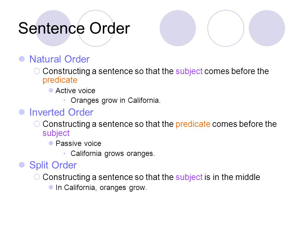 Sentence Order Natural Order Constructing a sentence so that the subject comes before the predicate Active voice Oranges grow in California. Inverted