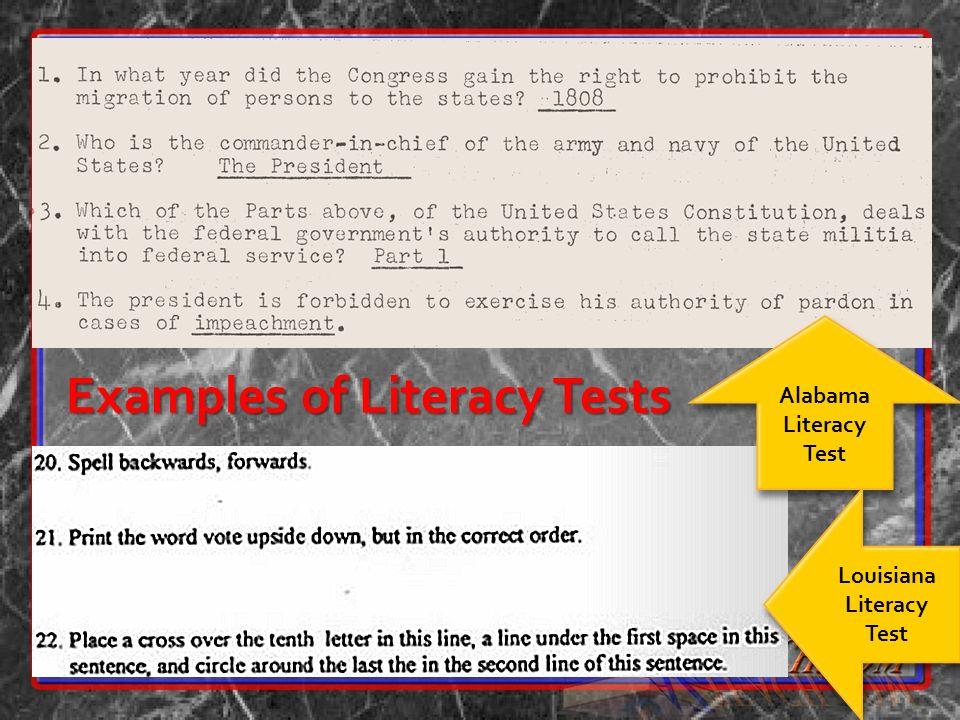 Alabama Literacy Test Louisiana Literacy Test Examples of Literacy Tests