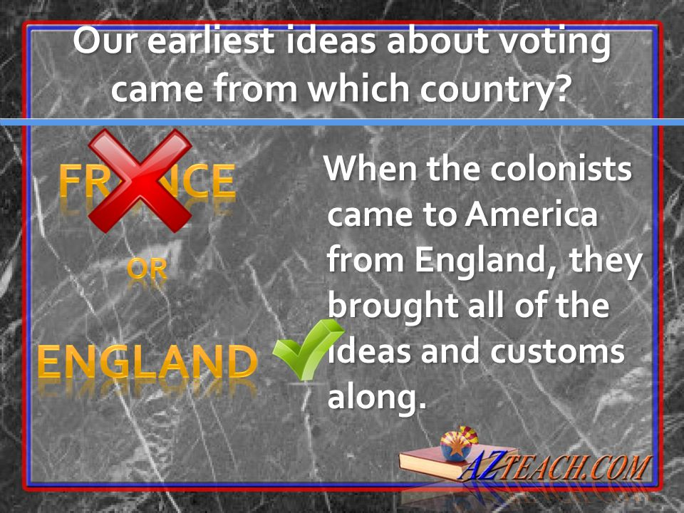 Our earliest ideas about voting came from which country? When the colonists came to America from England, they brought all of the ideas and customs al