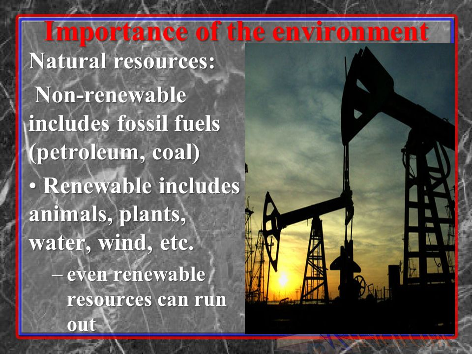Importance of the environment Natural resources: Non-renewable includes fossil fuels (petroleum, coal) Non-renewable includes fossil fuels (petroleum,