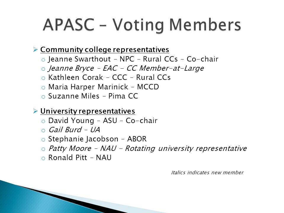 Community college representatives o Jeanne Swarthout – NPC – Rural CCs – Co-chair o Jeanne Bryce – EAC - CC Member-at-Large o Kathleen Corak – CCC – R