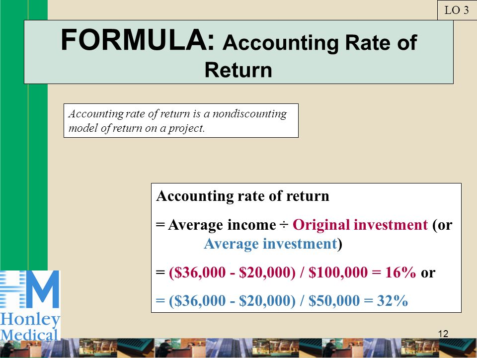 12 FORMULA: Accounting Rate of Return Accounting rate of return is a nondiscounting model of return on a project. LO 3 Accounting rate of return = Ave