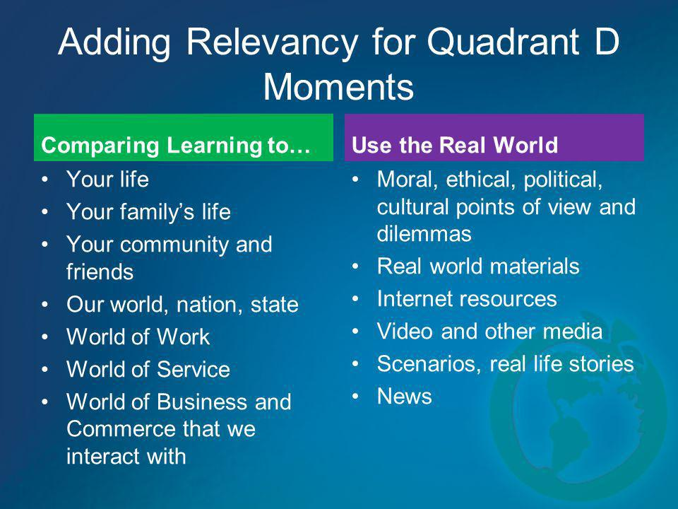 Adding Relevancy for Quadrant D Moments Comparing Learning to… Your life Your familys life Your community and friends Our world, nation, state World o