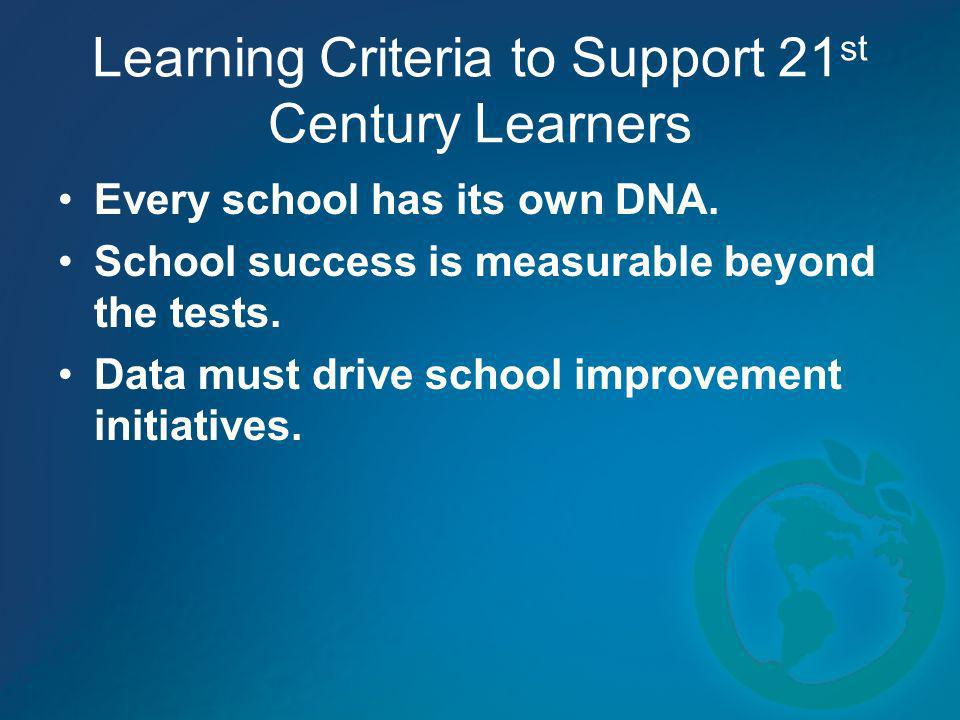 Learning Criteria to Support 21 st Century Learners Every school has its own DNA. School success is measurable beyond the tests. Data must drive schoo