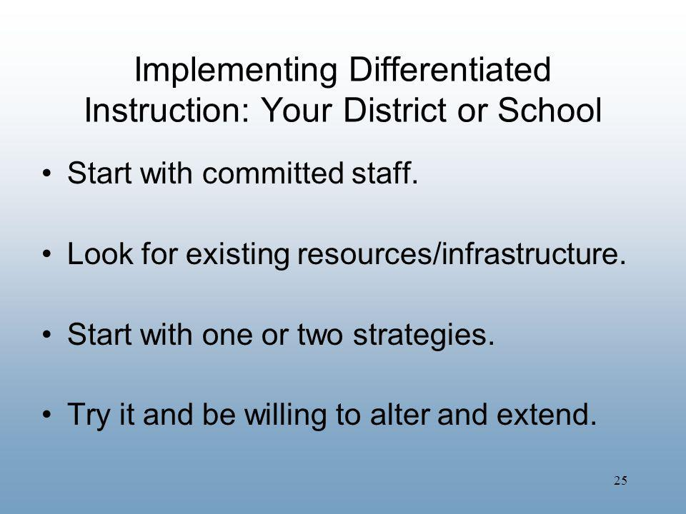 25 Implementing Differentiated Instruction: Your District or School Start with committed staff. Look for existing resources/infrastructure. Start with