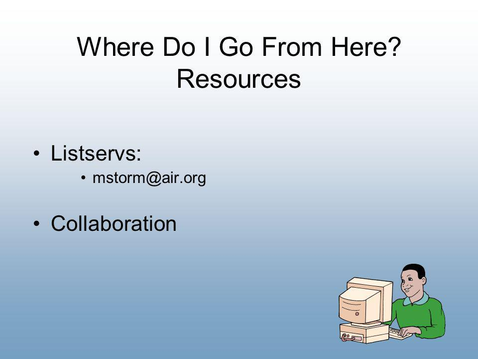 27 Where Do I Go From Here? Resources Listservs: mstorm@air.org Collaboration
