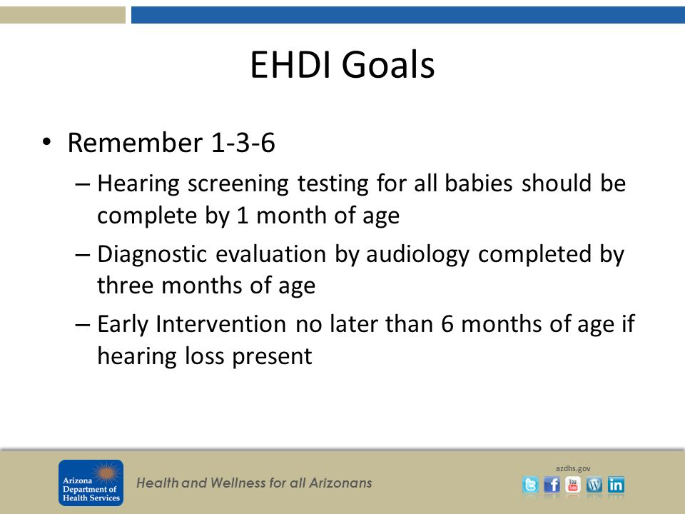 Health and Wellness for all Arizonans azdhs.gov EHDI Goals Remember 1-3-6 – Hearing screening testing for all babies should be complete by 1 month of
