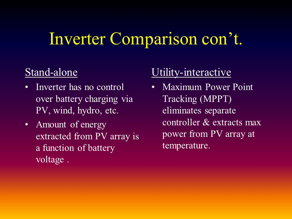 Inverter Comparison cont.