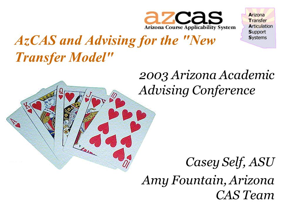 AzCAS and Advising for the New Transfer Model 2003 Arizona Academic Advising Conference Casey Self, ASU Amy Fountain, Arizona CAS Team