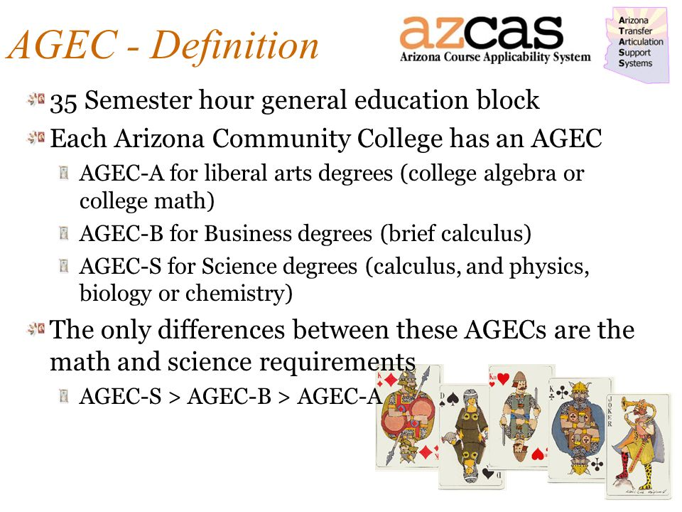 AGEC - Definition 35 Semester hour general education block Each Arizona Community College has an AGEC AGEC-A for liberal arts degrees (college algebra or college math) AGEC-B for Business degrees (brief calculus) AGEC-S for Science degrees (calculus, and physics, biology or chemistry) The only differences between these AGECs are the math and science requirements AGEC-S > AGEC-B > AGEC-A