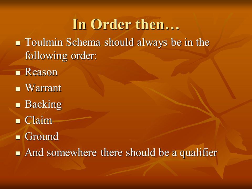 In Order then… Toulmin Schema should always be in the following order: Toulmin Schema should always be in the following order: Reason Reason Warrant W