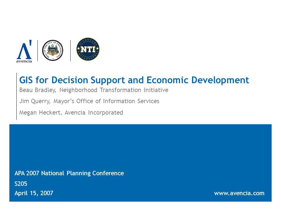 Slide 32GIS for Decision Support and Economic Development April 15, 2007