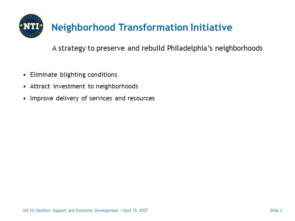 Slide 2GIS for Decision Support and Economic Development April 15, 2007