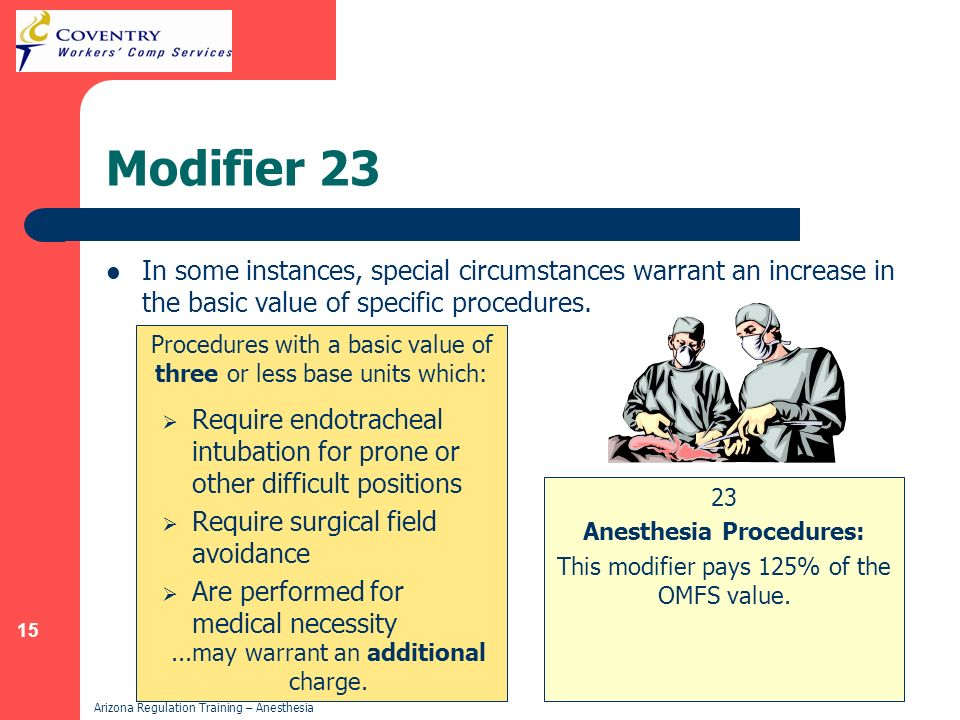 15 Arizona Regulation Training – Anesthesia Modifier 23 23 Anesthesia Procedures: This modifier pays 125% of the OMFS value. Procedures with a basic v