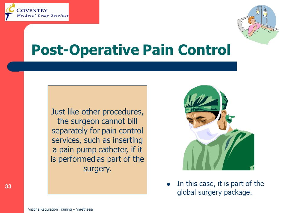 33 Arizona Regulation Training – Anesthesia Post-Operative Pain Control In this case, it is part of the global surgery package. Just like other proced