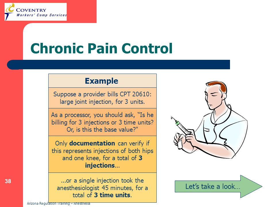 38 Arizona Regulation Training – Anesthesia Chronic Pain Control Example Suppose a provider bills CPT 20610: large joint injection, for 3 units. As a