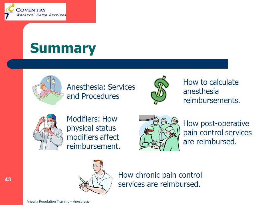 43 Arizona Regulation Training – Anesthesia Summary Anesthesia: Services and Procedures Modifiers: How physical status modifiers affect reimbursement.