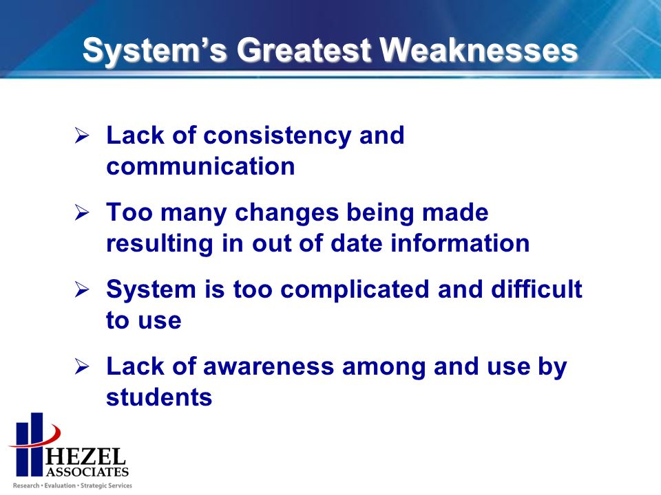 Systems Greatest Weaknesses Lack of consistency and communication Too many changes being made resulting in out of date information System is too complicated and difficult to use Lack of awareness among and use by students