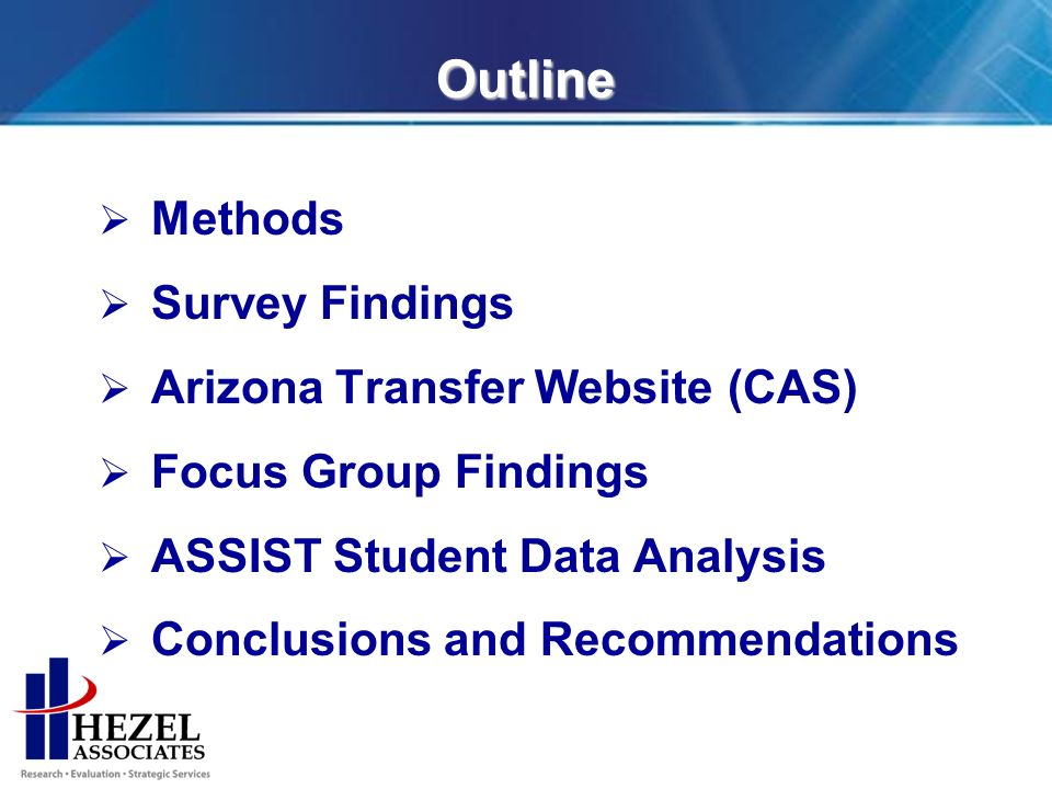 Outline Methods Survey Findings Arizona Transfer Website (CAS) Focus Group Findings ASSIST Student Data Analysis Conclusions and Recommendations