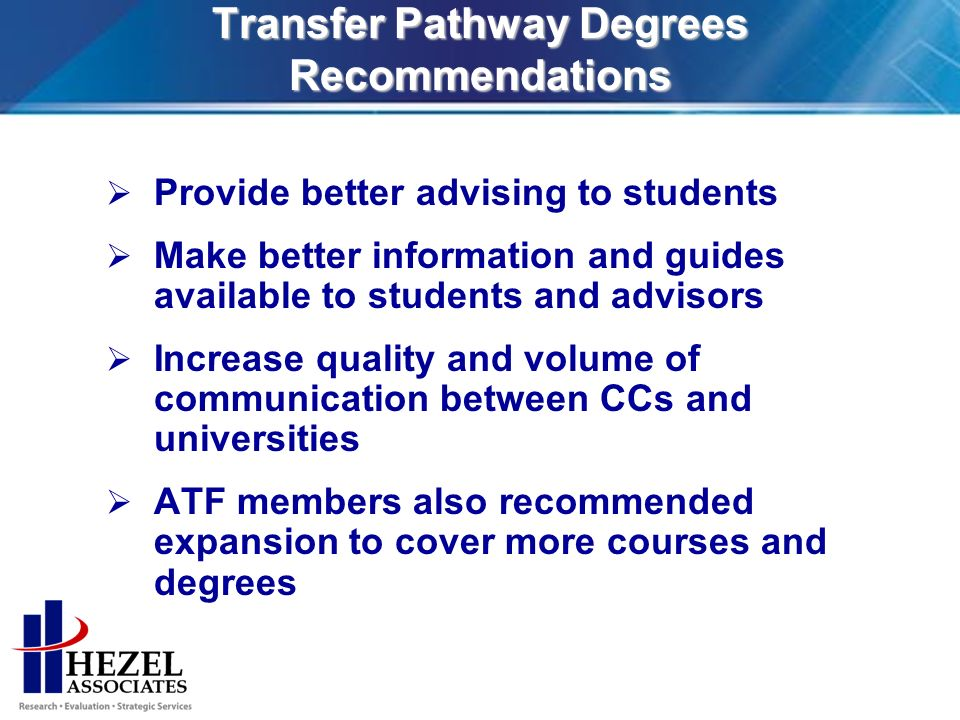 Transfer Pathway Degrees Recommendations Provide better advising to students Make better information and guides available to students and advisors Increase quality and volume of communication between CCs and universities ATF members also recommended expansion to cover more courses and degrees