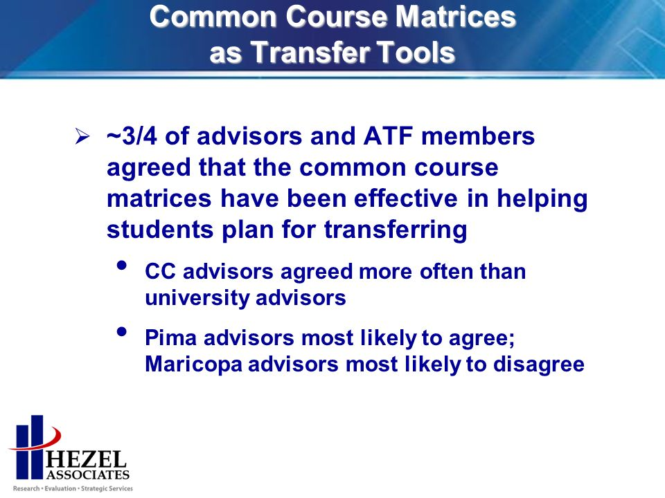 Common Course Matrices as Transfer Tools ~3/4 of advisors and ATF members agreed that the common course matrices have been effective in helping students plan for transferring CC advisors agreed more often than university advisors Pima advisors most likely to agree; Maricopa advisors most likely to disagree