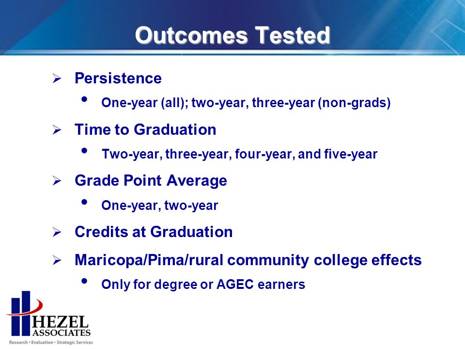 Outcomes Tested Persistence One-year (all); two-year, three-year (non-grads) Time to Graduation Two-year, three-year, four-year, and five-year Grade Point Average One-year, two-year Credits at Graduation Maricopa/Pima/rural community college effects Only for degree or AGEC earners