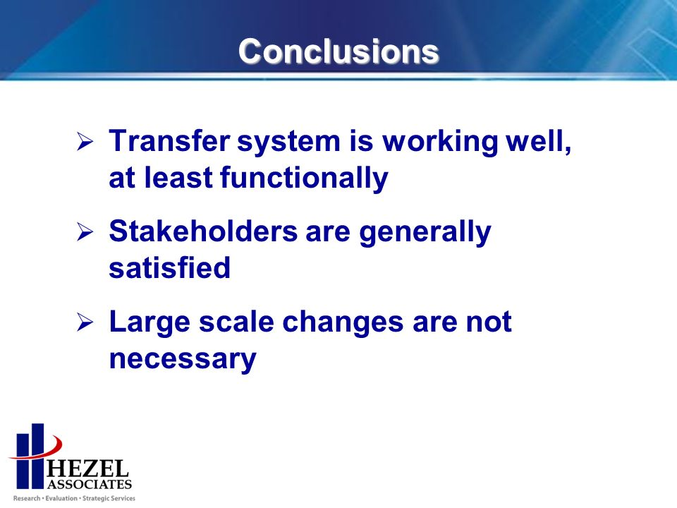 Conclusions Transfer system is working well, at least functionally Stakeholders are generally satisfied Large scale changes are not necessary
