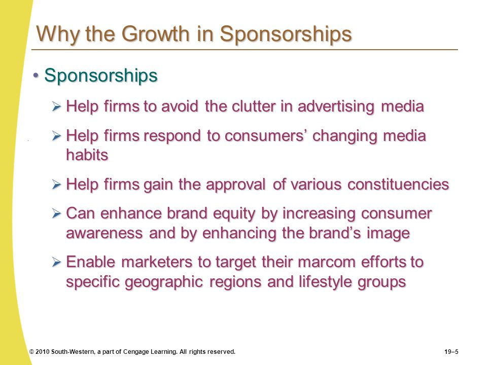 © 2010 South-Western, a part of Cengage Learning. All rights reserved.19–5 Why the Growth in Sponsorships SponsorshipsSponsorships Help firms to avoid