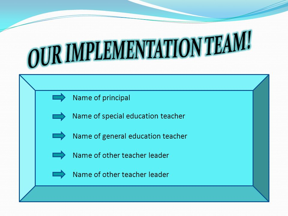 Name of other teacher leader Name of principal Name of special education teacher Name of general education teacher Name of other teacher leader