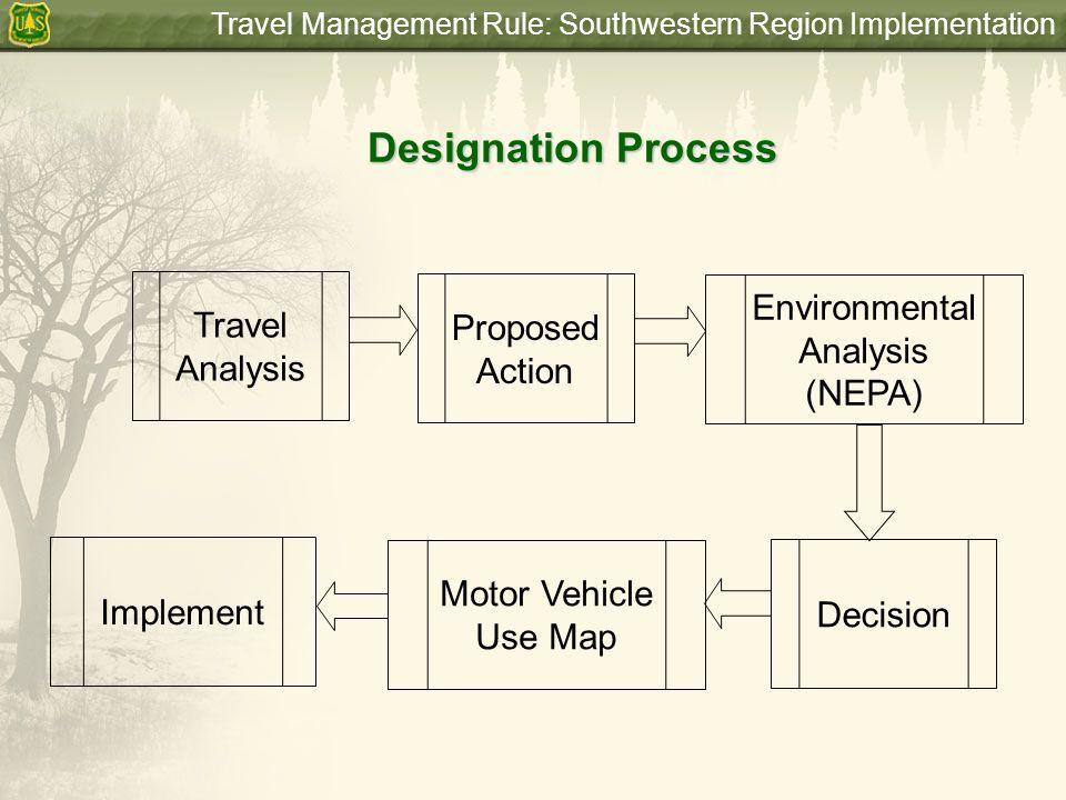 Travel Management Rule: Southwestern Region Implementation Designation Process Travel Analysis Proposed Action Environmental Analysis (NEPA) Implement