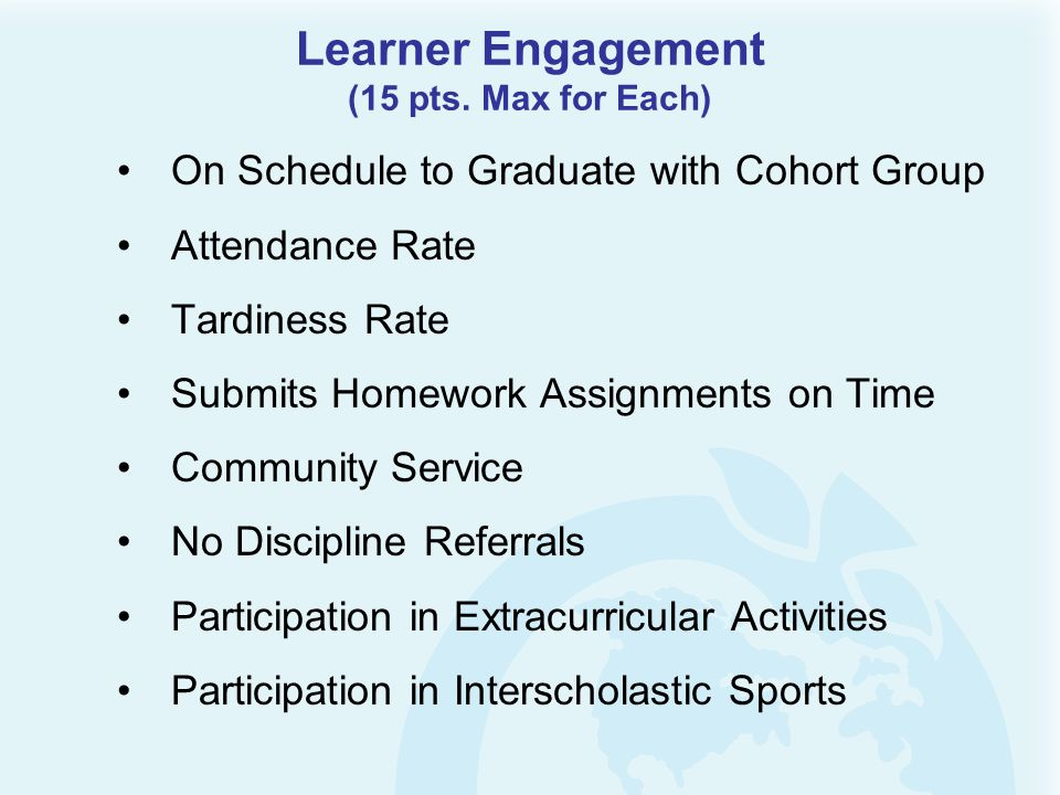Learner Engagement (15 pts. Max for Each) On Schedule to Graduate with Cohort Group Attendance Rate Tardiness Rate Submits Homework Assignments on Tim