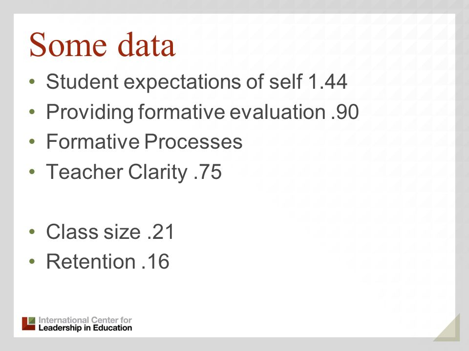Some data Student expectations of self 1.44 Providing formative evaluation.90 Formative Processes Teacher Clarity.75 Class size.21 Retention.16