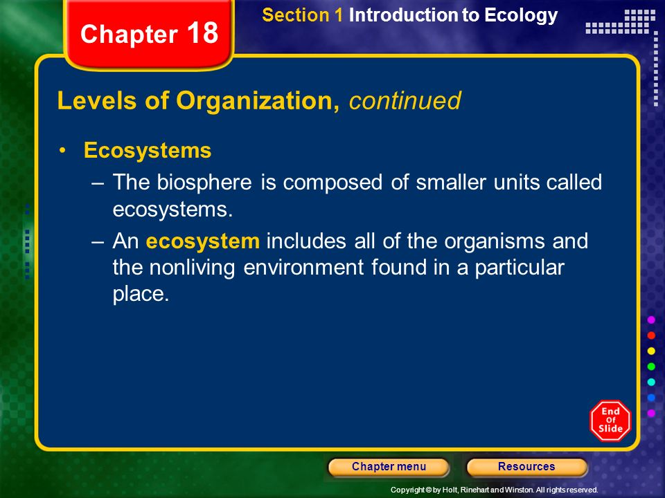 Copyright © by Holt, Rinehart and Winston. All rights reserved. ResourcesChapter menu Section 1 Introduction to Ecology Chapter 18 Levels of Organizat