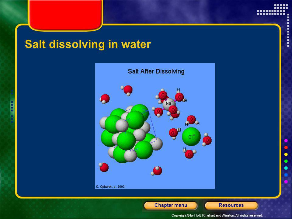 Copyright © by Holt, Rinehart and Winston. All rights reserved. ResourcesChapter menu Salt dissolving in water
