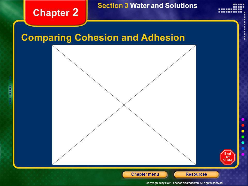 Copyright © by Holt, Rinehart and Winston. All rights reserved. ResourcesChapter menu Chapter 2 Comparing Cohesion and Adhesion Section 3 Water and So