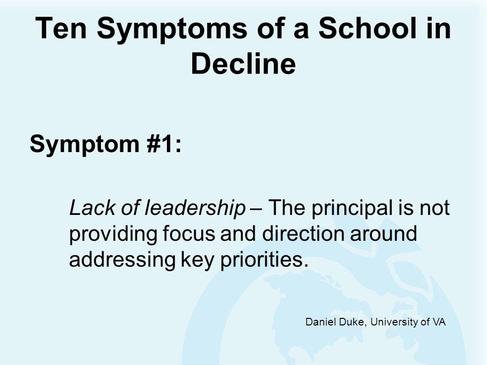 Daniel Duke, University of VA Ten Symptoms of a School in Decline