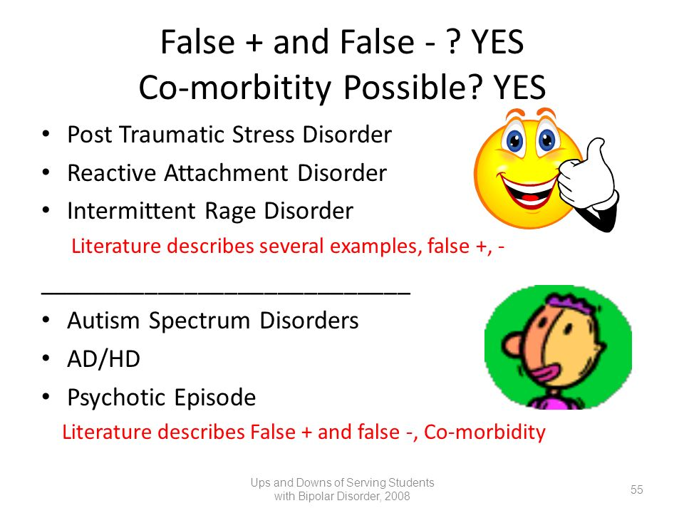 False + and False - ? YES Co-morbitity Possible? YES Post Traumatic Stress Disorder Reactive Attachment Disorder Intermittent Rage Disorder Literature