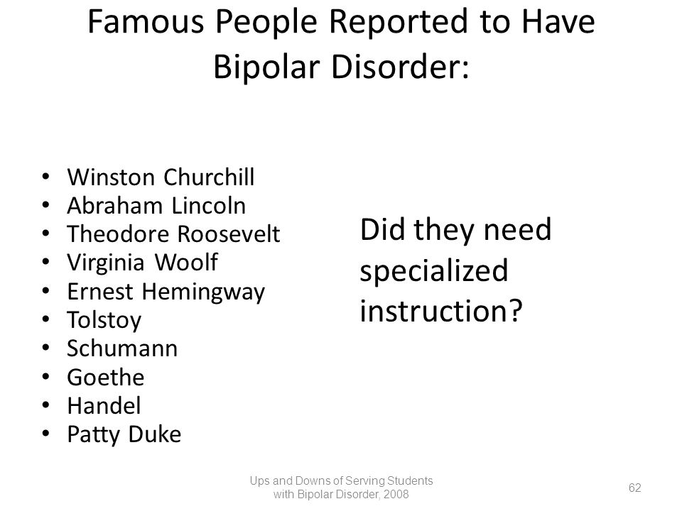 Famous People Reported to Have Bipolar Disorder: Winston Churchill Abraham Lincoln Theodore Roosevelt Virginia Woolf Ernest Hemingway Tolstoy Schumann