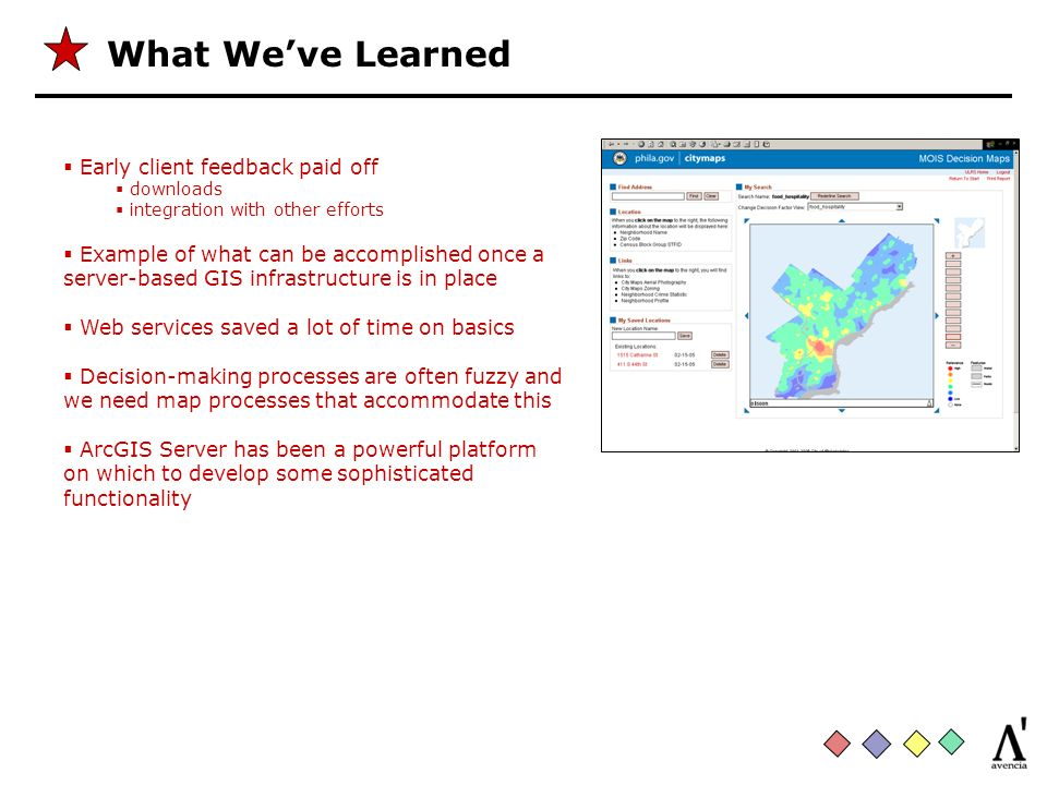 What Weve Learned Early client feedback paid off downloads integration with other efforts Example of what can be accomplished once a server-based GIS