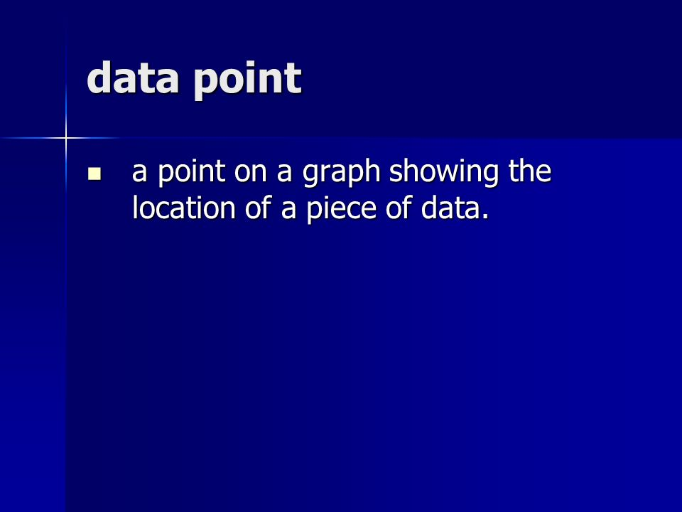 data point a point on a graph showing the location of a piece of data.