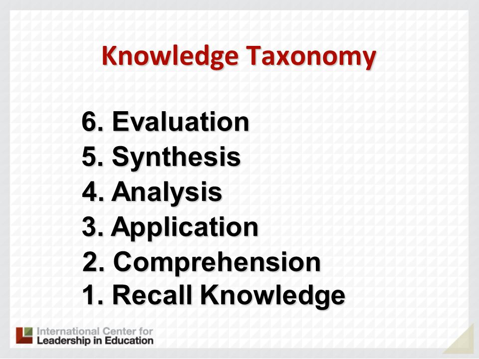 Knowledge Taxonomy 1. Recall Knowledge 2. Comprehension 3. Application 4. Analysis 5. Synthesis 6. Evaluation