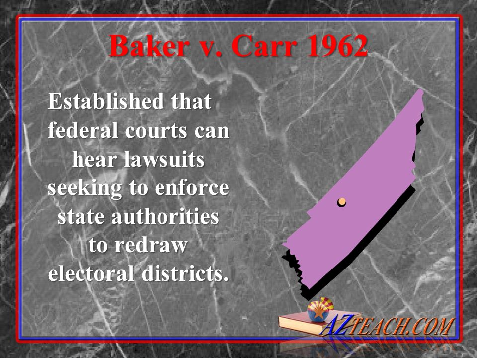 Baker v. Carr 1962 Established that federal courts can hear lawsuits seeking to enforce state authorities to redraw electoral districts.