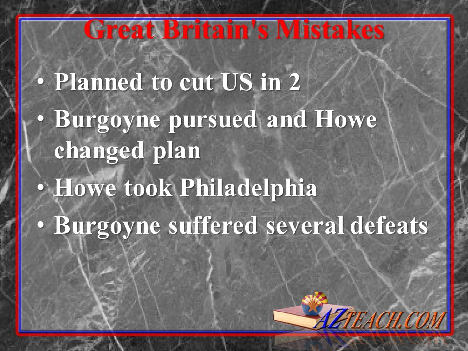 Great Britain's Mistakes Planned to cut US in 2 Planned to cut US in 2 Burgoyne pursued and Howe changed plan Burgoyne pursued and Howe changed plan H