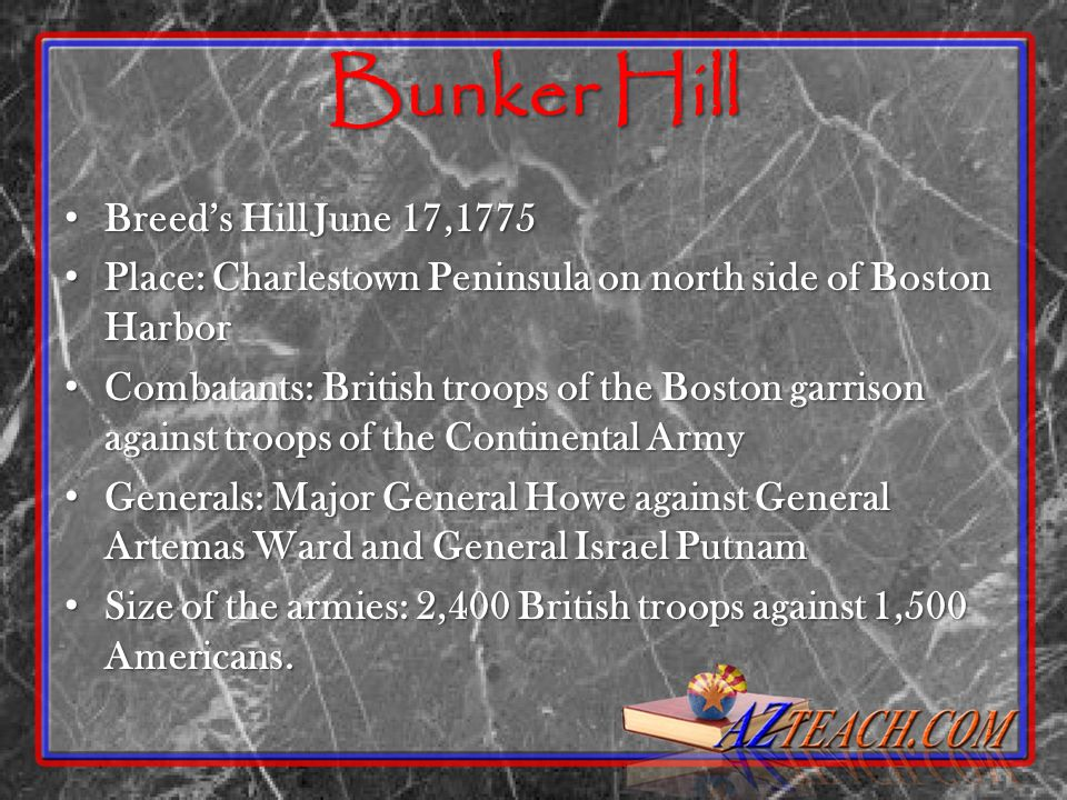 Bunker Hill Breeds Hill June 17,1775 Breeds Hill June 17,1775 Place: Charlestown Peninsula on north side of Boston Harbor Place: Charlestown Peninsula