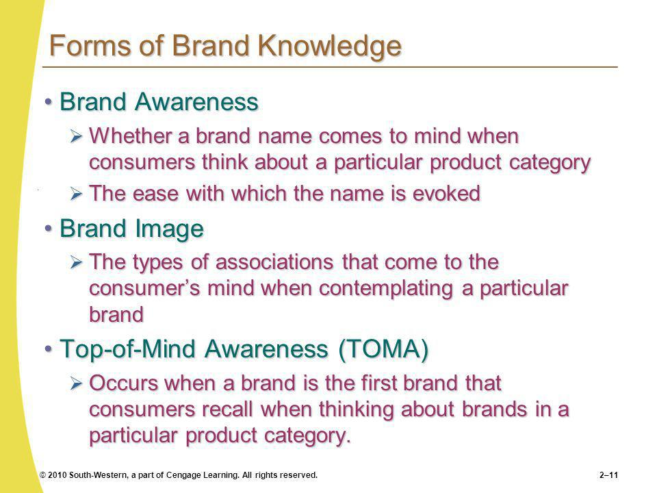 © 2010 South-Western, a part of Cengage Learning. All rights reserved.2–11 Forms of Brand Knowledge Brand AwarenessBrand Awareness Whether a brand nam